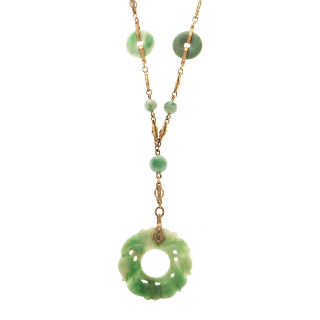 A Lady's Carved Jade and Bead Lariat Necklace - 2
