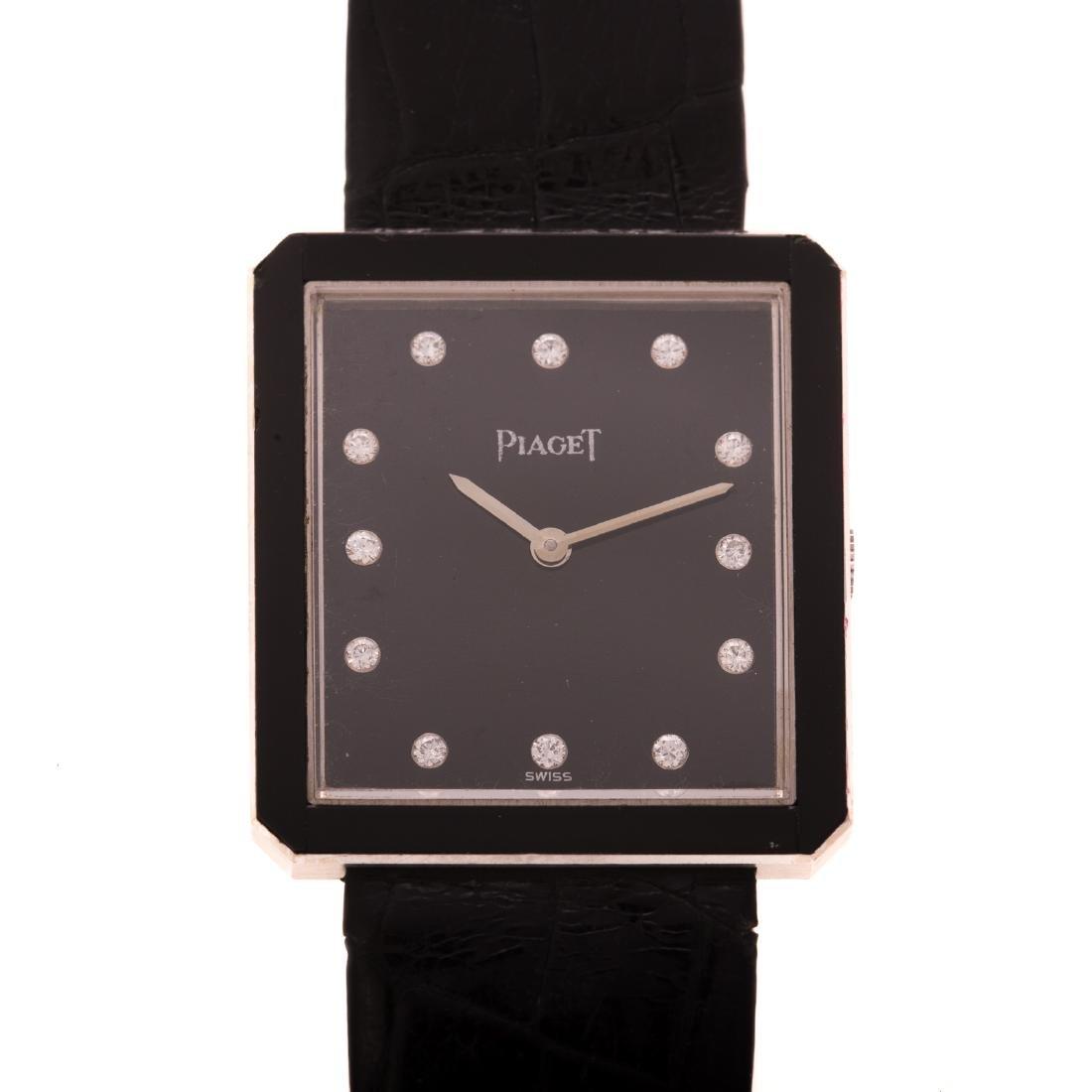 A Gentlemen's Piaget Watch with Diamonds in 18K