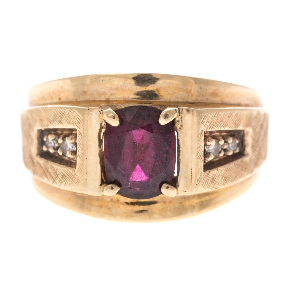 A Gentlemen's Ruby & Diamond Ring in 14K