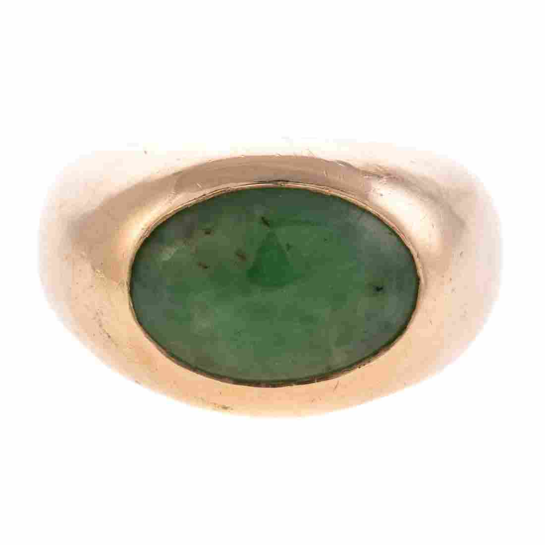 A Gent's GIA Natural Jade Ring in 14K Gold