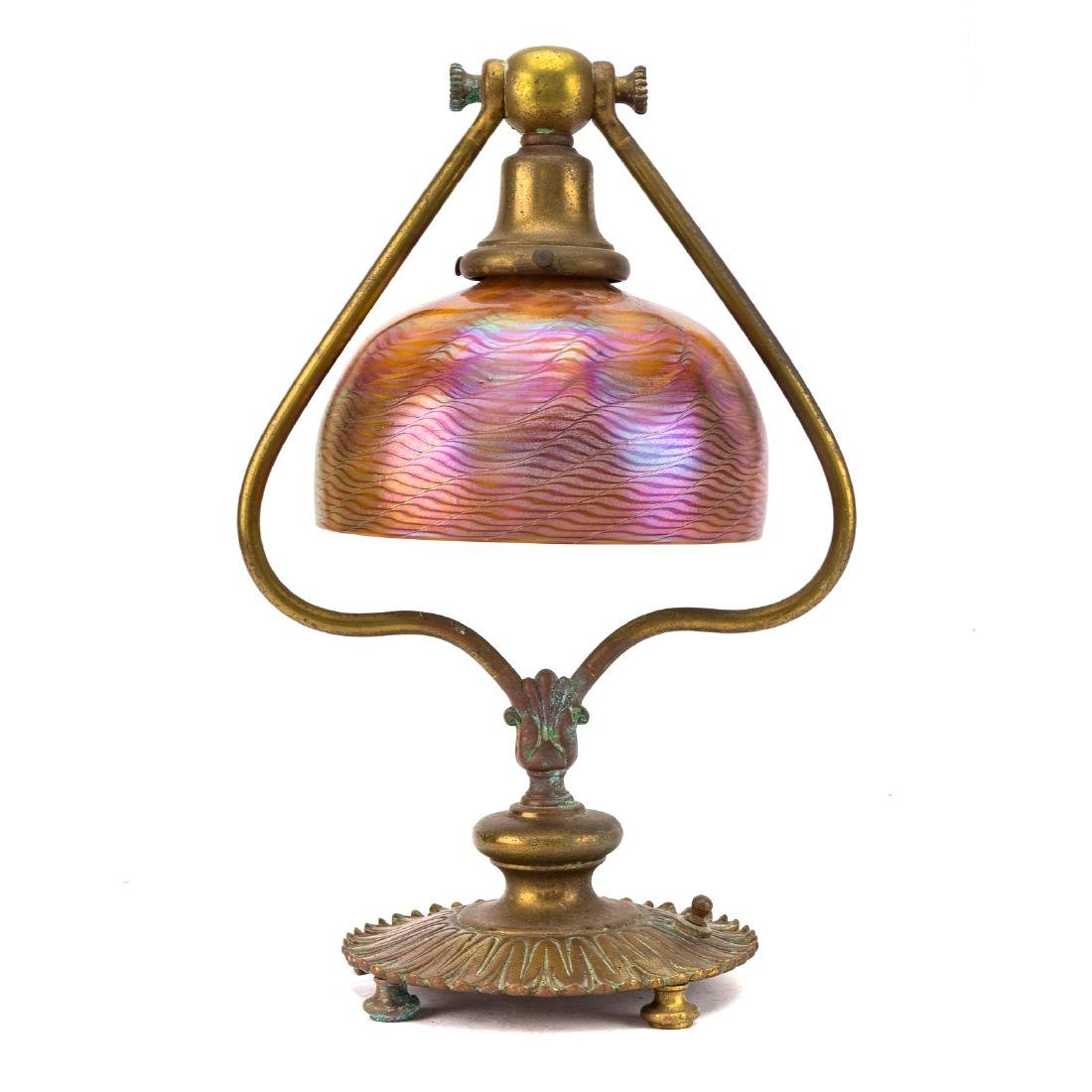 Art Nouveau lamp with Tiffany glass shade
