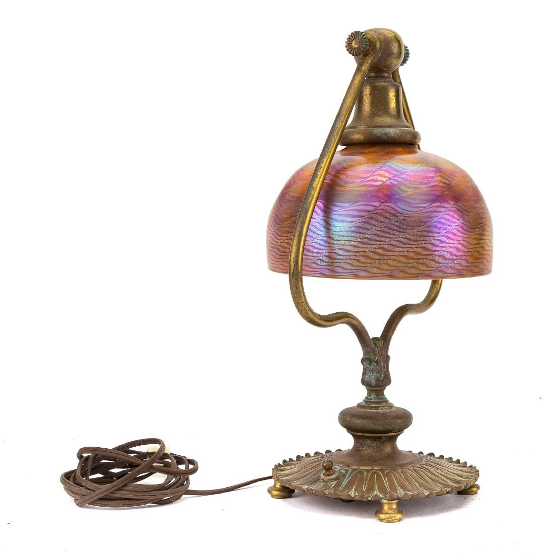 Art Nouveau lamp with Tiffany glass shade - 3