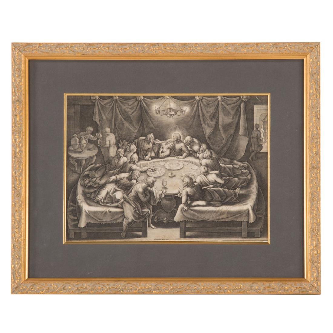 Heironymus Wierix. The Last Supper, engraving