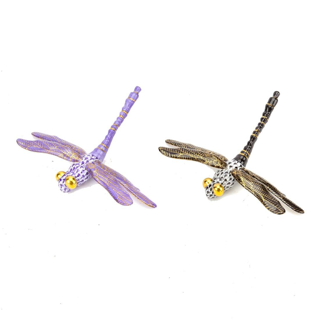 Two Herend porcelain dragonflies