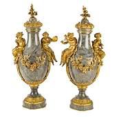 Pair Louis XVI style marble and bronze castlettes