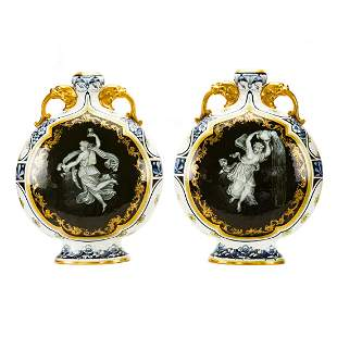 Pair Royal Worcester pate-sur-pate moon flasks
