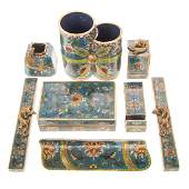 Chinese cloisonne enamel scholar's calligraphy set