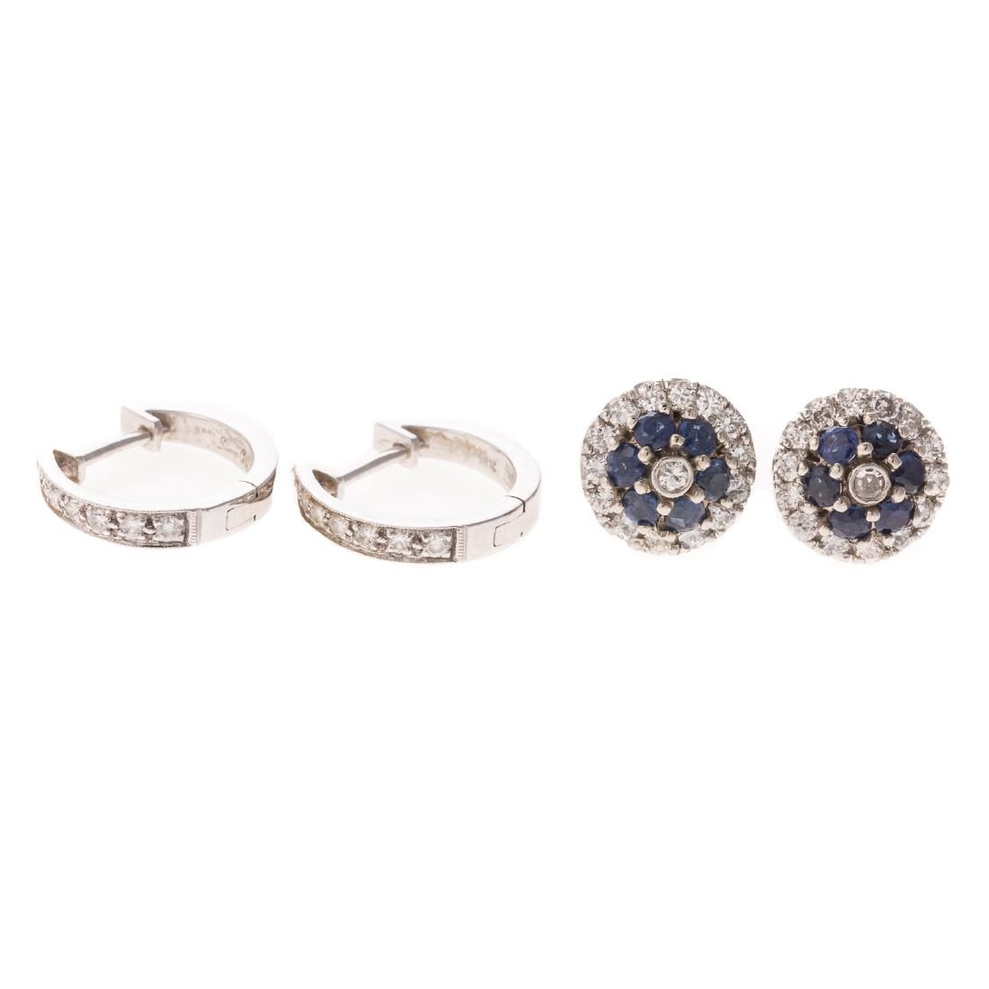 A Pair of Sapphire & Diamond Studs & Diamond Hoops