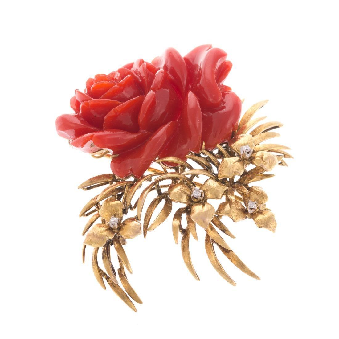 A Ladies 18K Carved Coral & Diamond Brooch