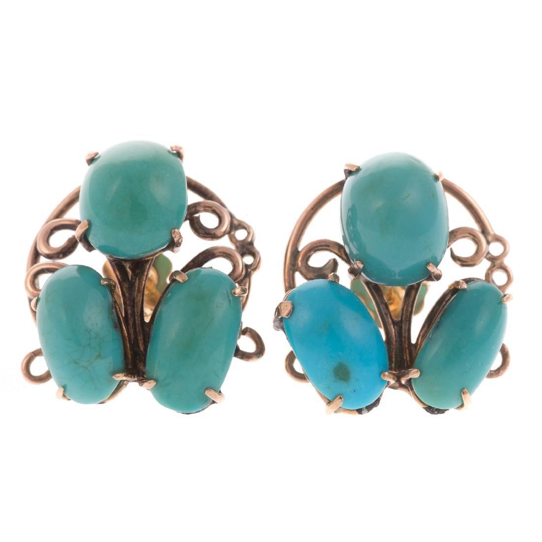 A Pair of Ladies 14K Turquoise Earrings