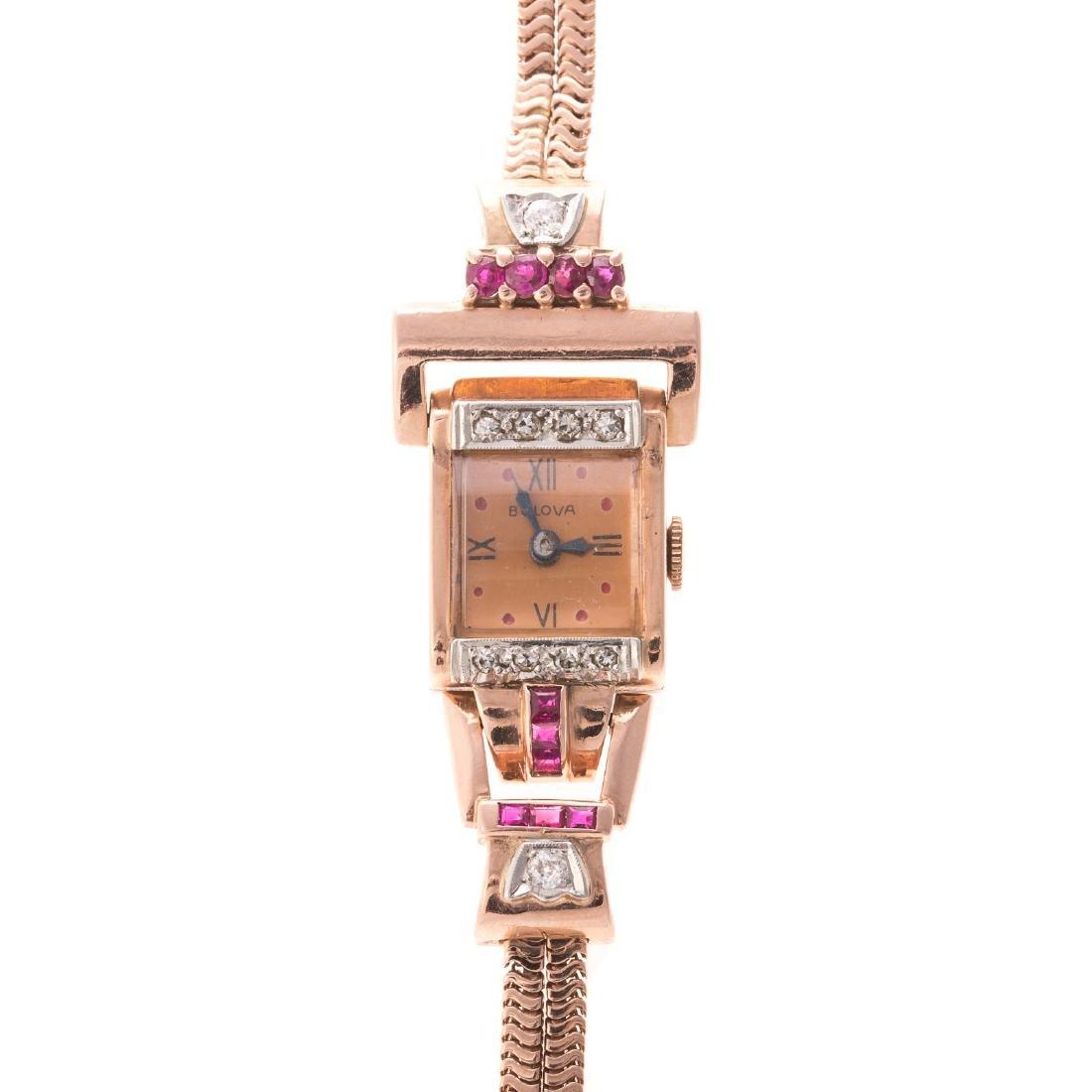 A Ladies Retro Ruby & Diamond Watch by Bulova