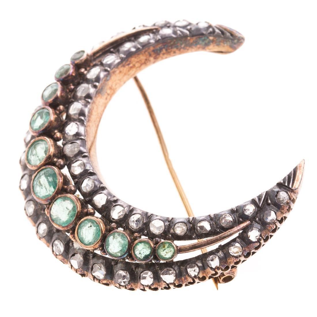 An Edwardian Emerald & Diamond Crescent Moon Pin - 2
