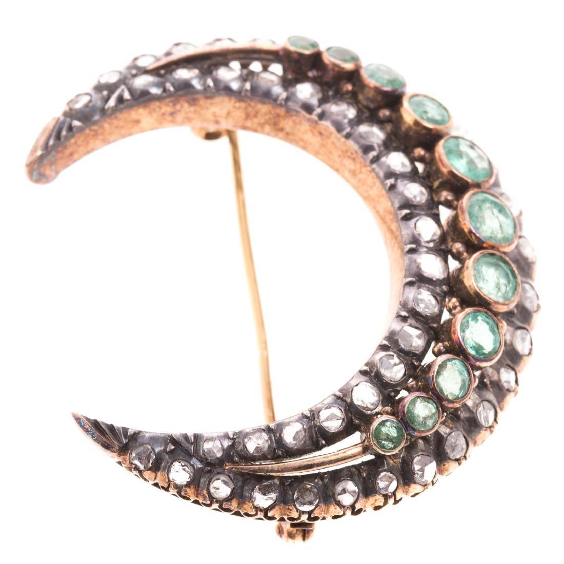An Edwardian Emerald & Diamond Crescent Moon Pin - 3