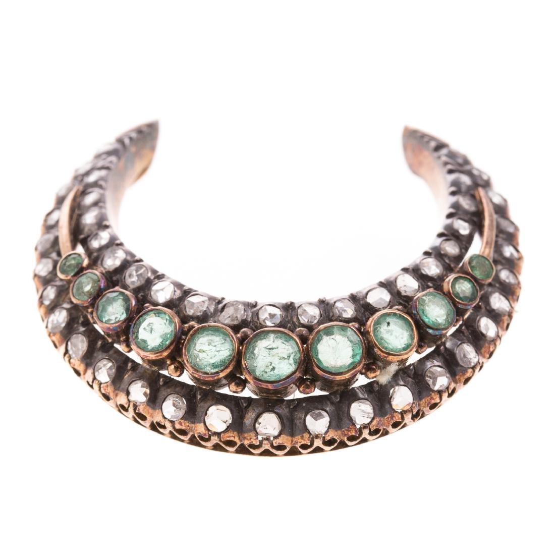 An Edwardian Emerald & Diamond Crescent Moon Pin - 4
