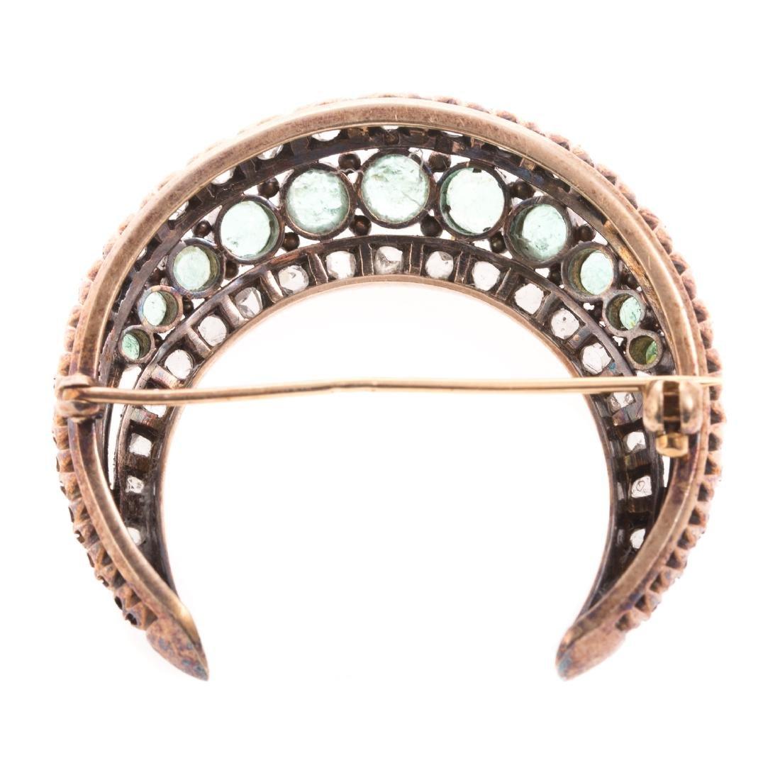 An Edwardian Emerald & Diamond Crescent Moon Pin - 5
