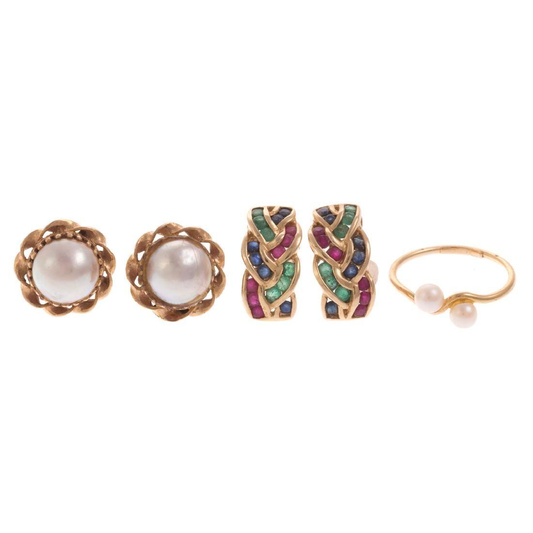 Two Pairs of Ladies Earrings & Pearl Ring