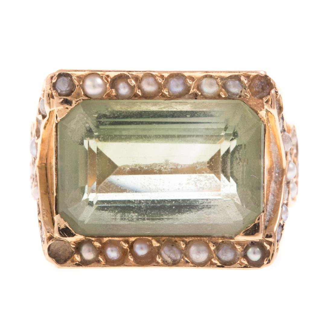 A Ladies 14K Prasiolite & Seed Pearl Ring