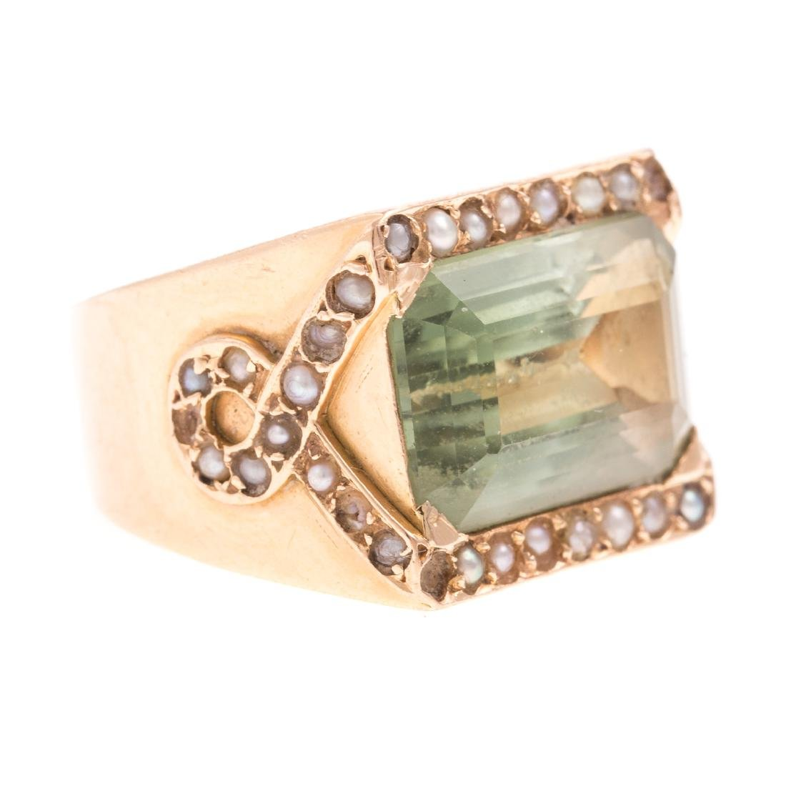 A Ladies 14K Prasiolite & Seed Pearl Ring - 2
