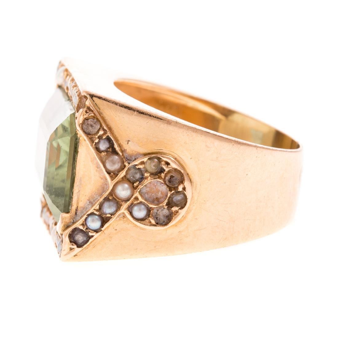A Ladies 14K Prasiolite & Seed Pearl Ring - 3