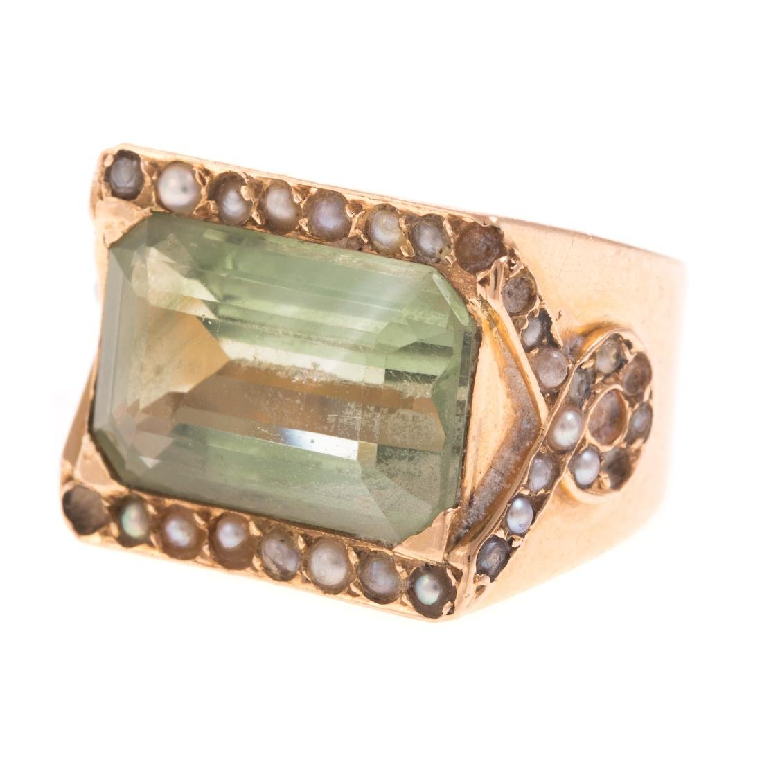 A Ladies 14K Prasiolite & Seed Pearl Ring - 4