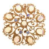 A Ladies Opal Pendant/Brooch in 14K Gold
