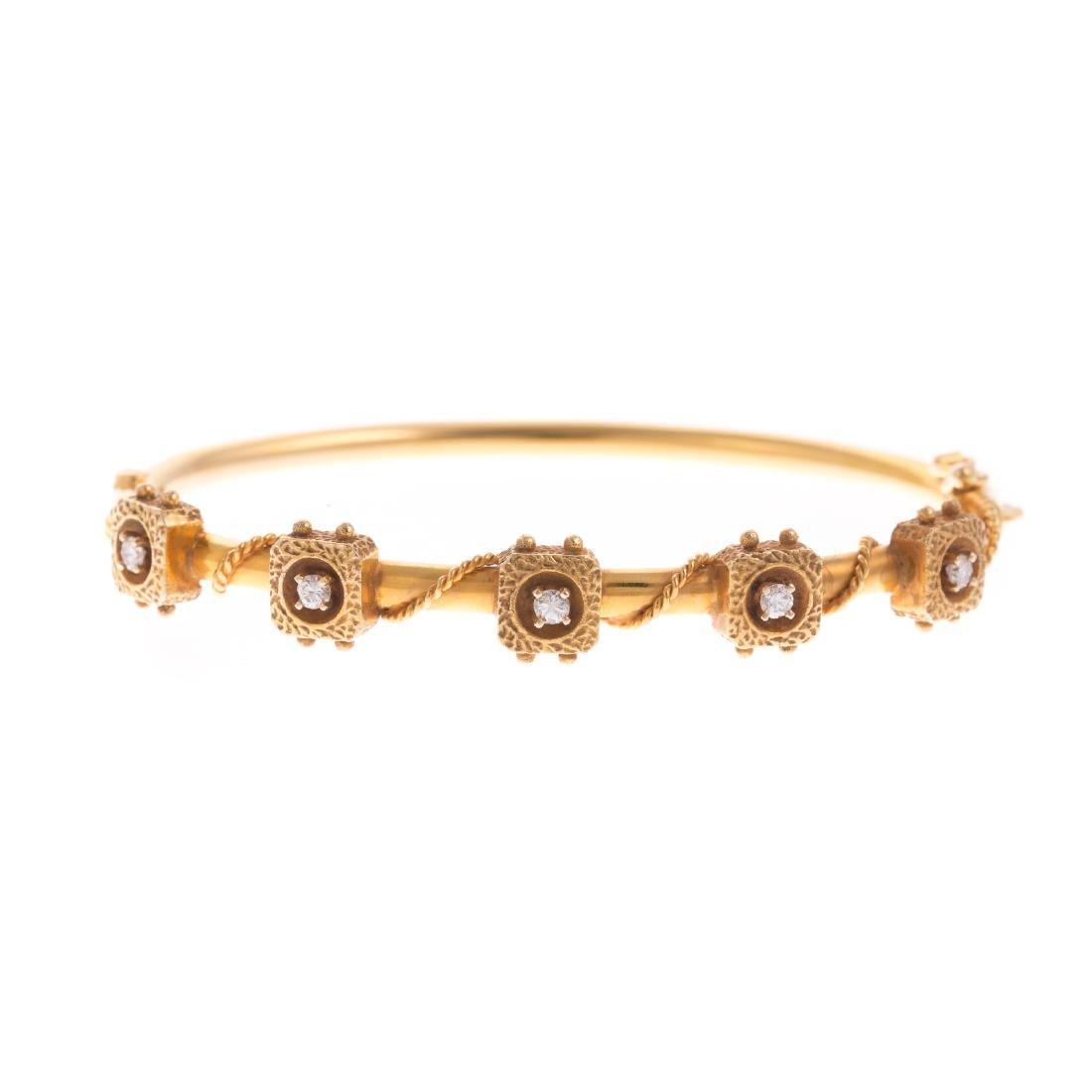 A Ladies Bangle Bracelet with Diamonds