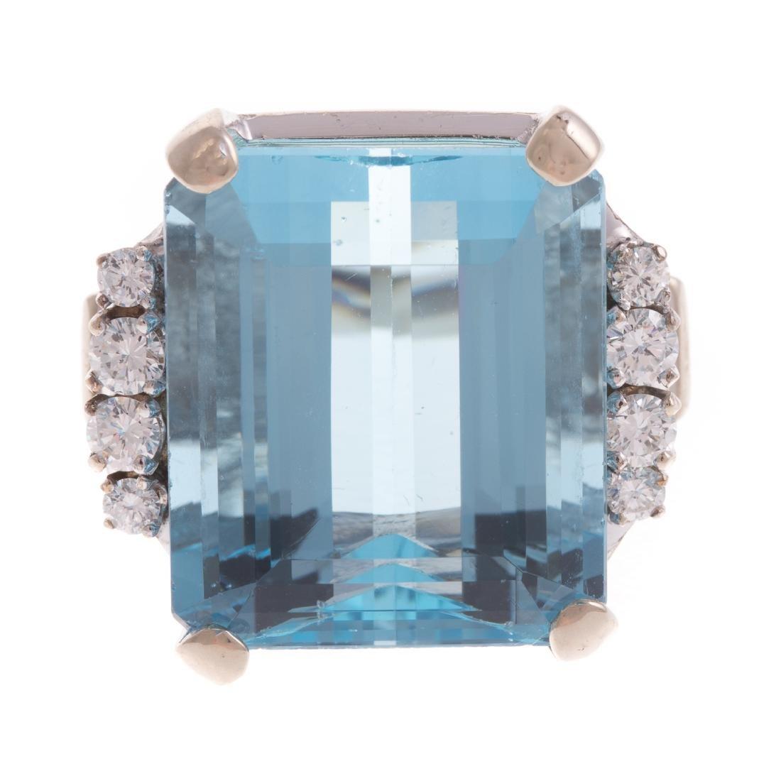 A Statement Aquamarine & Diamond Ring in Gold