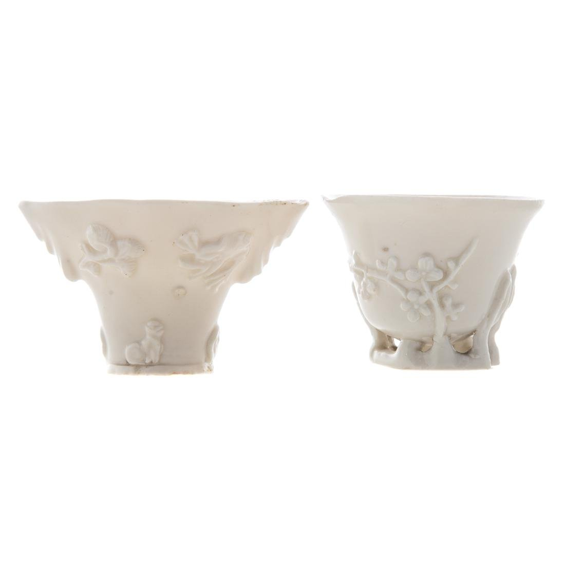 Two Chinese blanc de chine porcelain libation cups