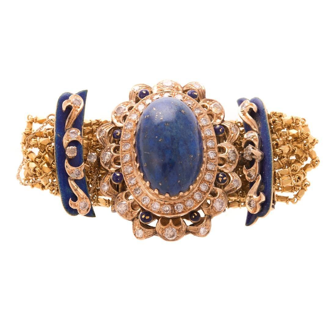 A Victorian 18K Lapis, Diamond & Enamel Bracelet