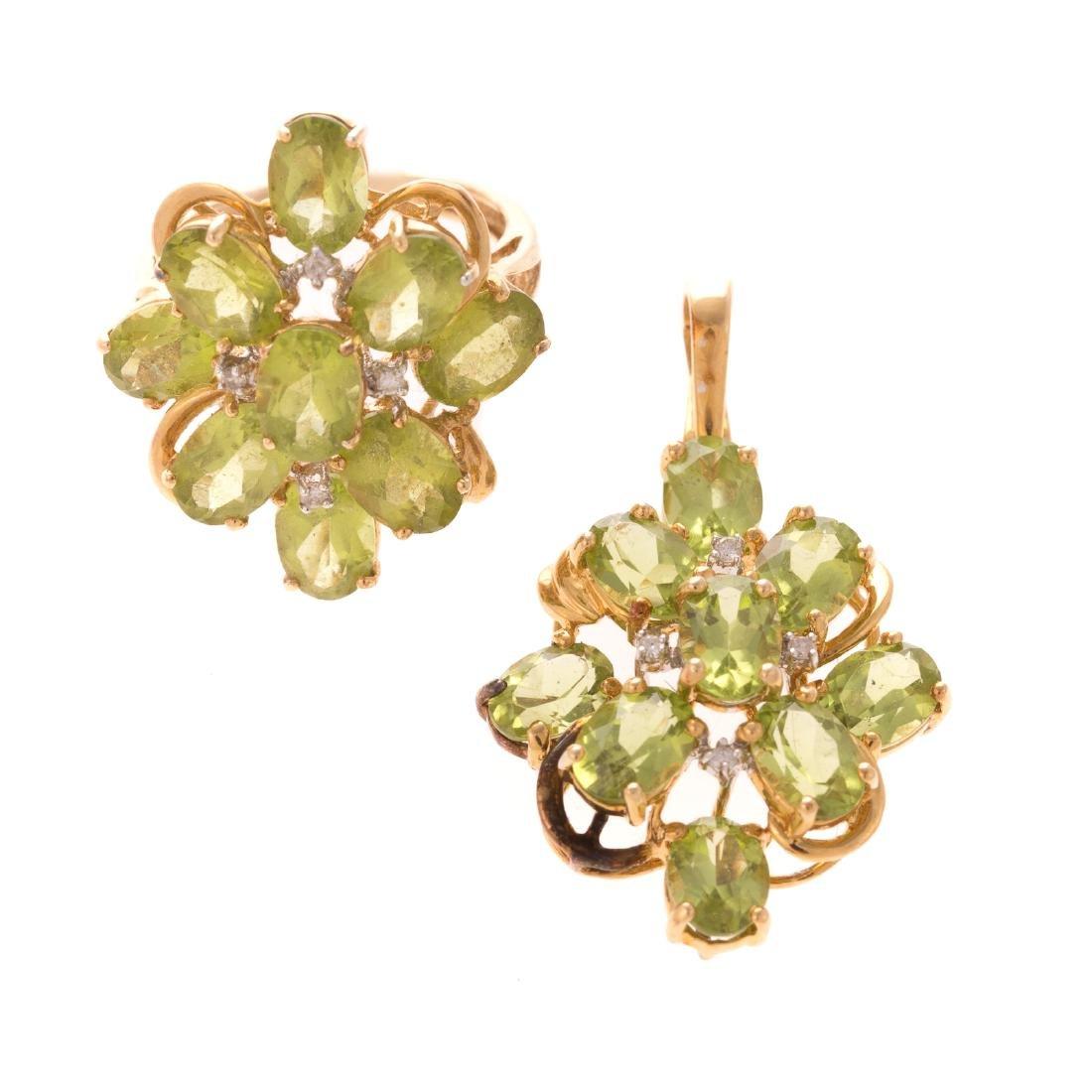 A Matched Set of Peridot & Diamond Jewelry in 14K