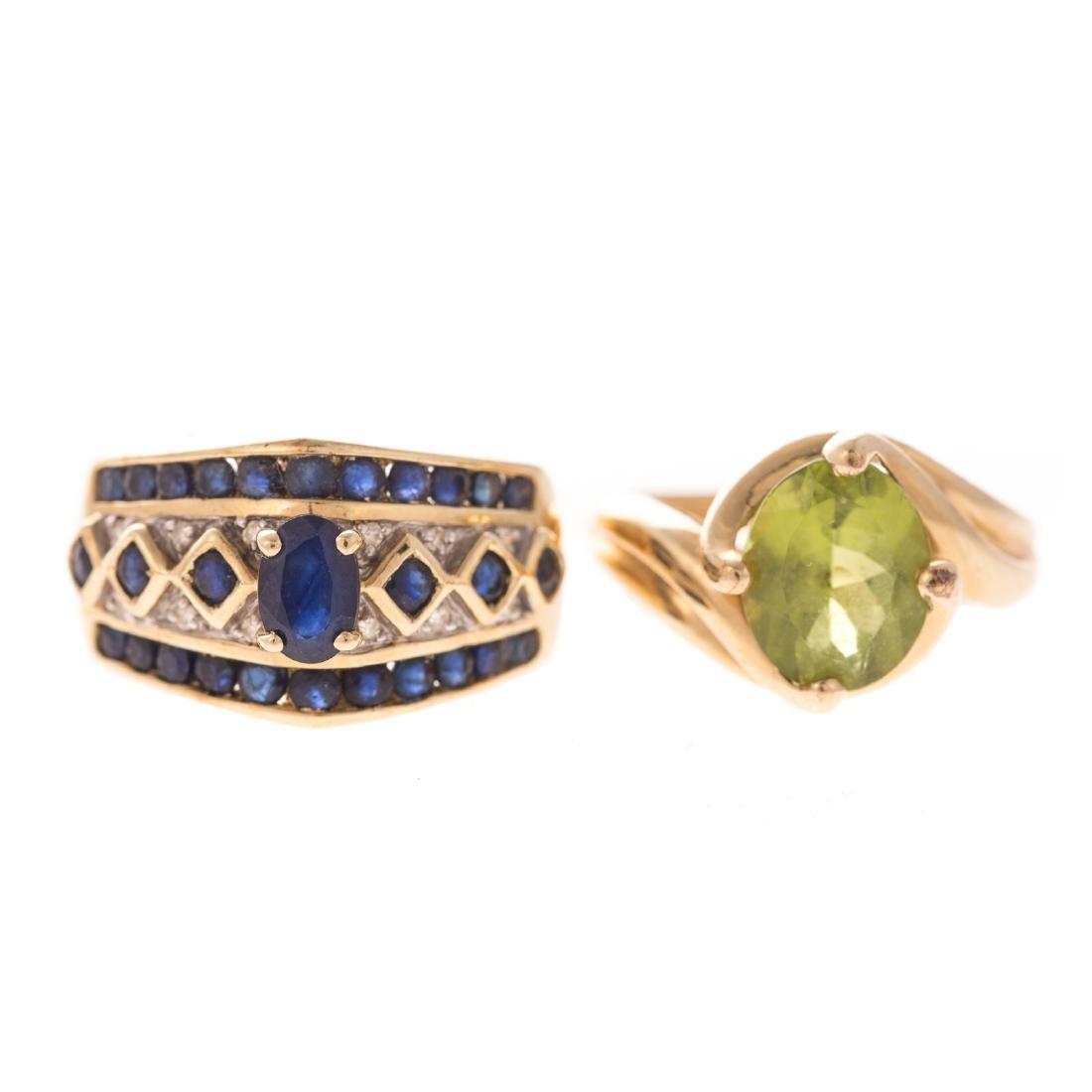 A Pair of Ladies Gemstone Rings in 14K