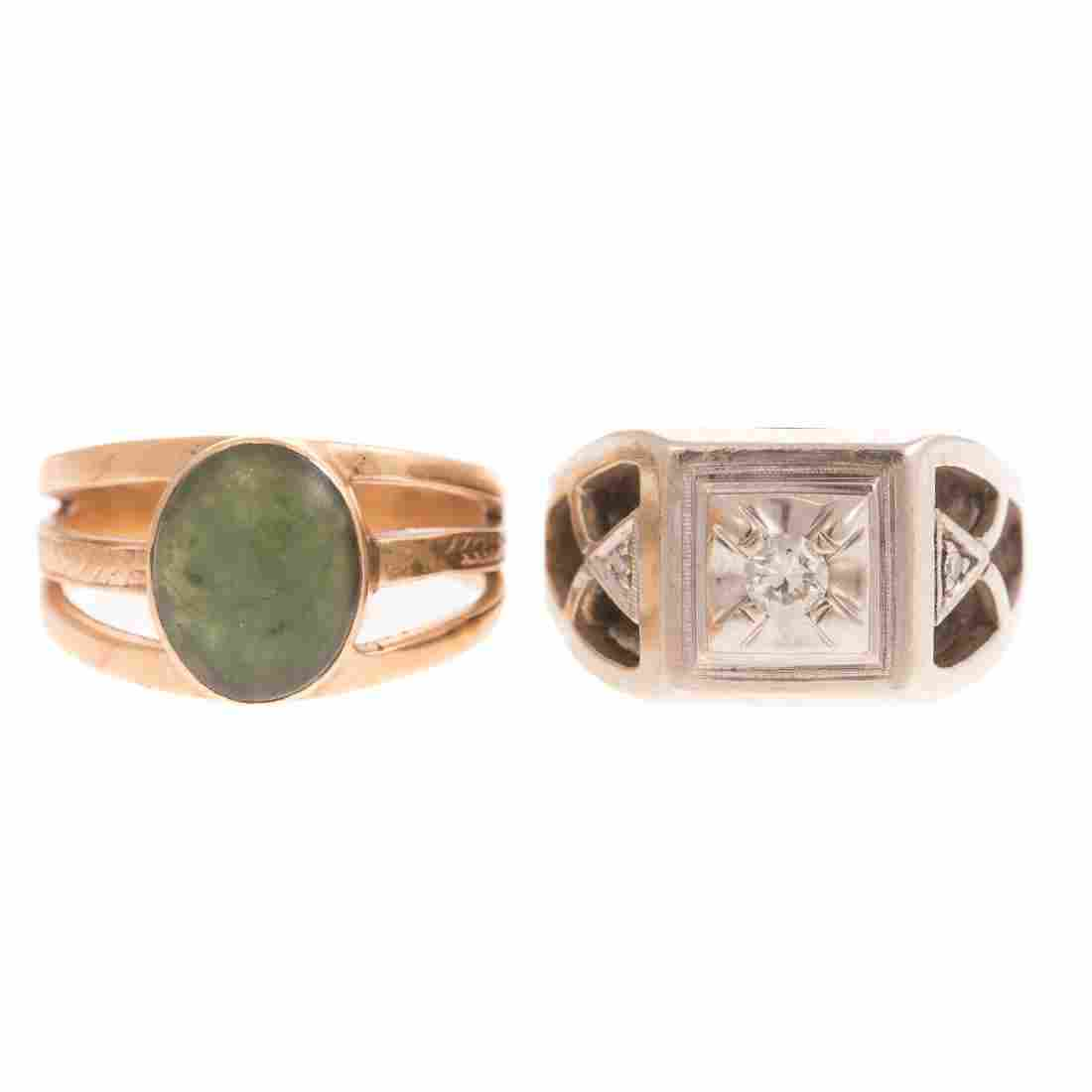Two Gent's Rings with Jade & a Diamond in 14K