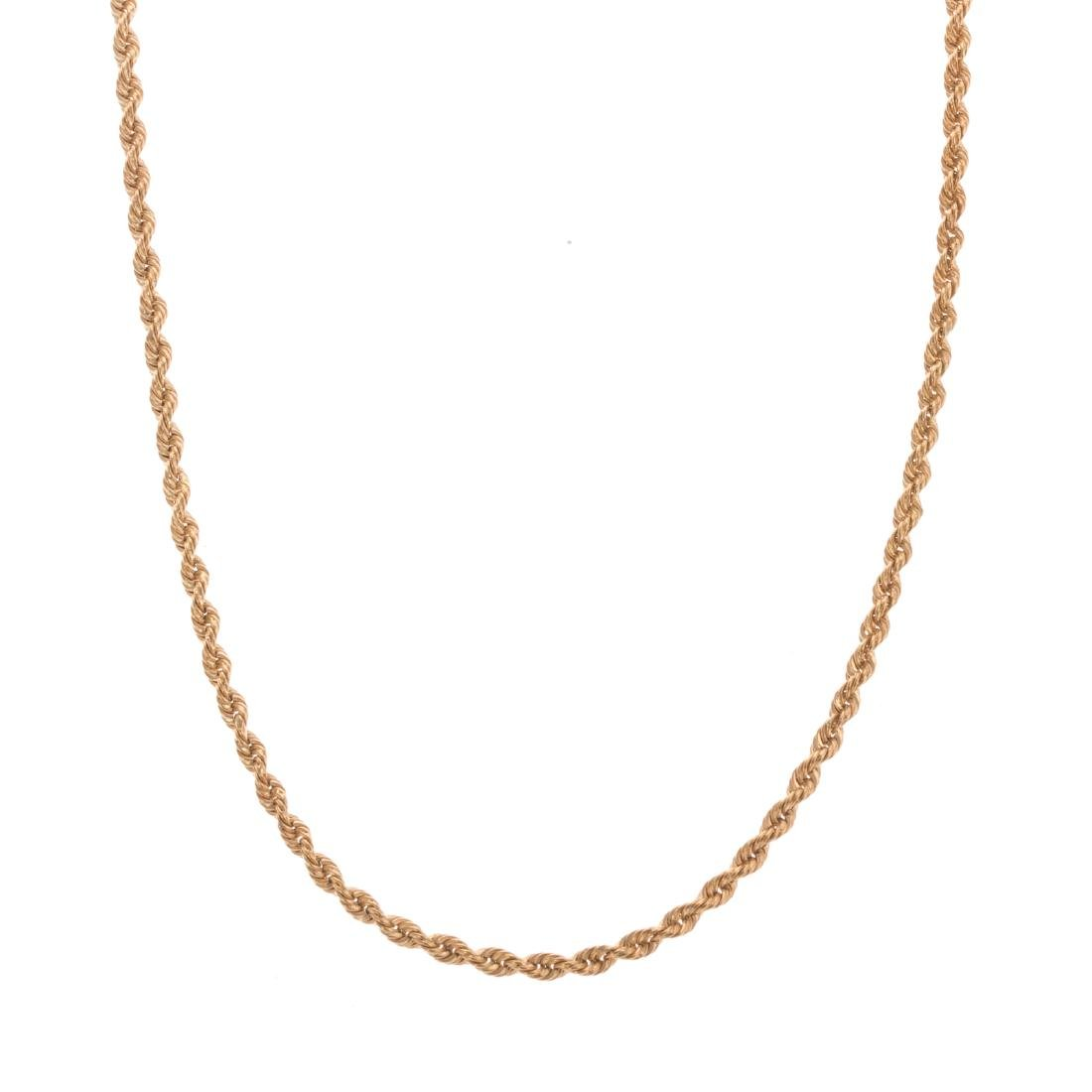 A Rope Chain in 18K Yellow Gold