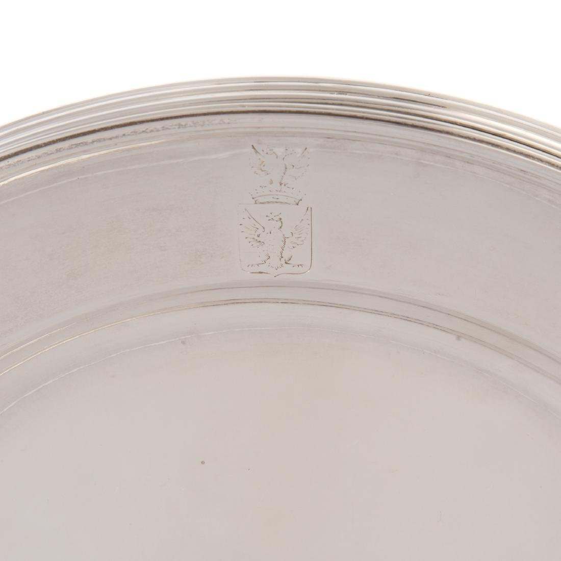 Six Imperial Russian silver service plates - 3