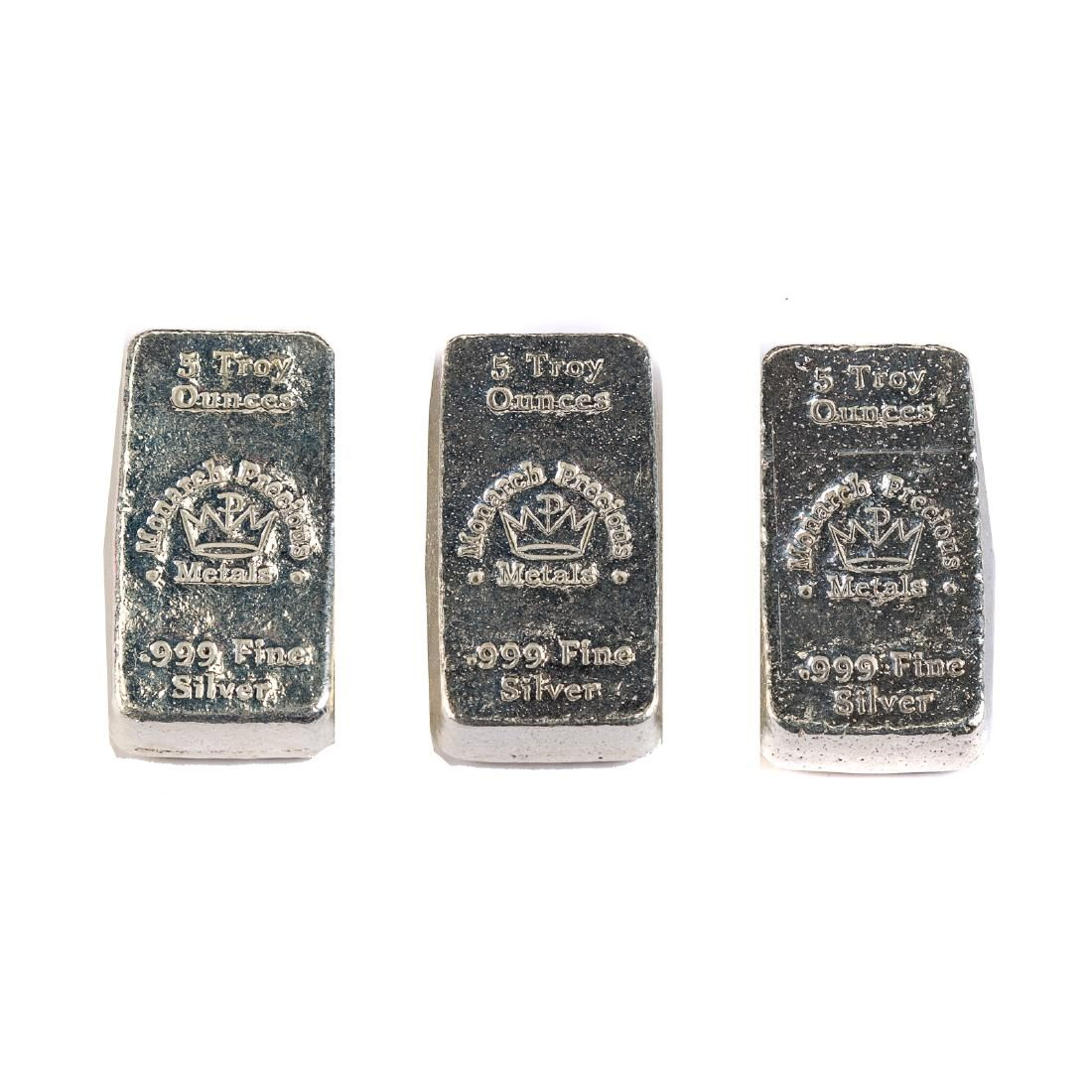 Three 5 Ounce Poured Silver Bars