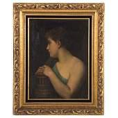 British School, 19th c. Woman with Oeonochoe, oil