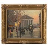 Charles Vignon Parisian Street Scene oil
