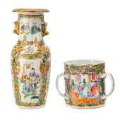 Chinese Export Rose Medallion loving cup  vase