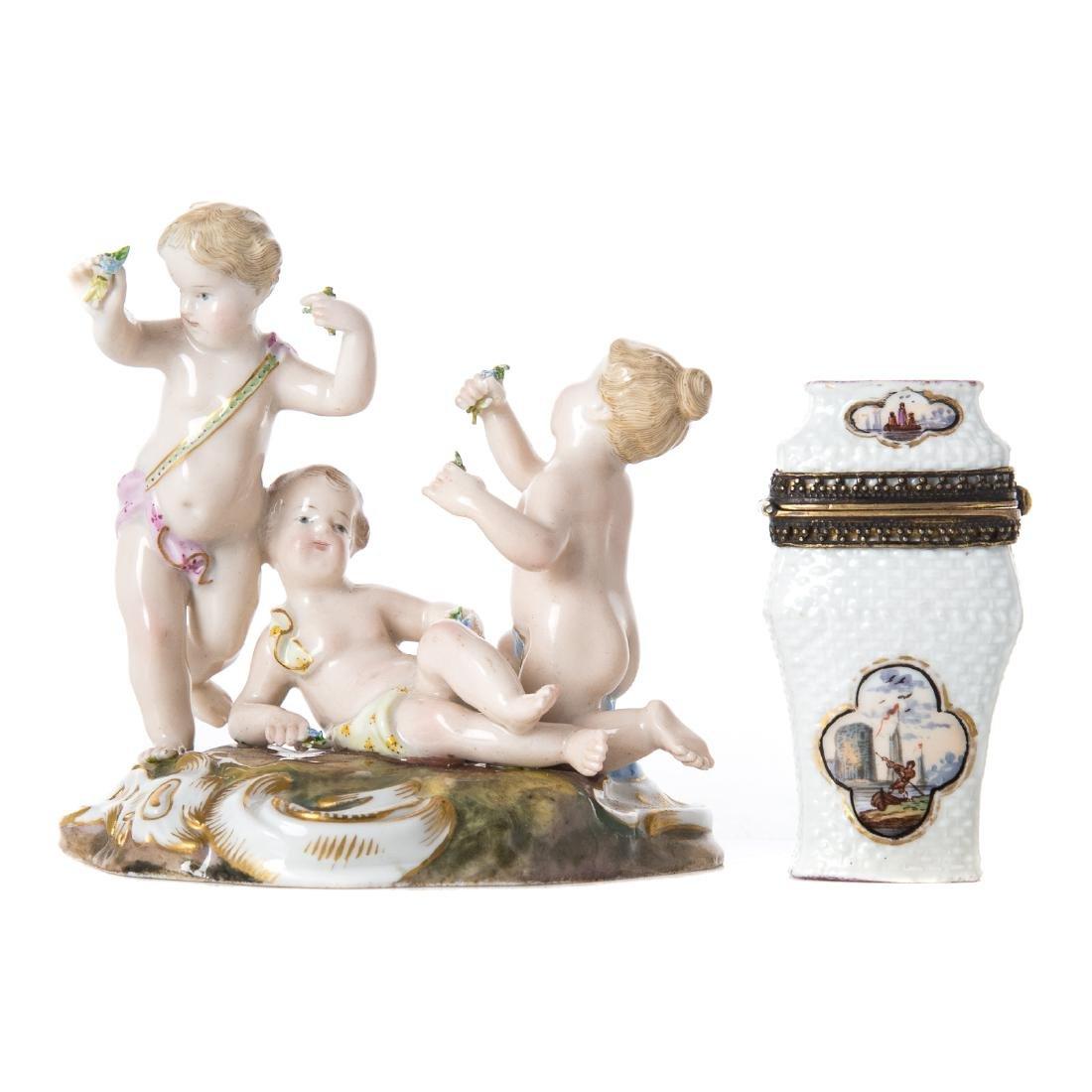 Meissen porcelain figural group and match safe