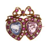 A Ladies Double Heart Gemstone Pin in 14K Gold