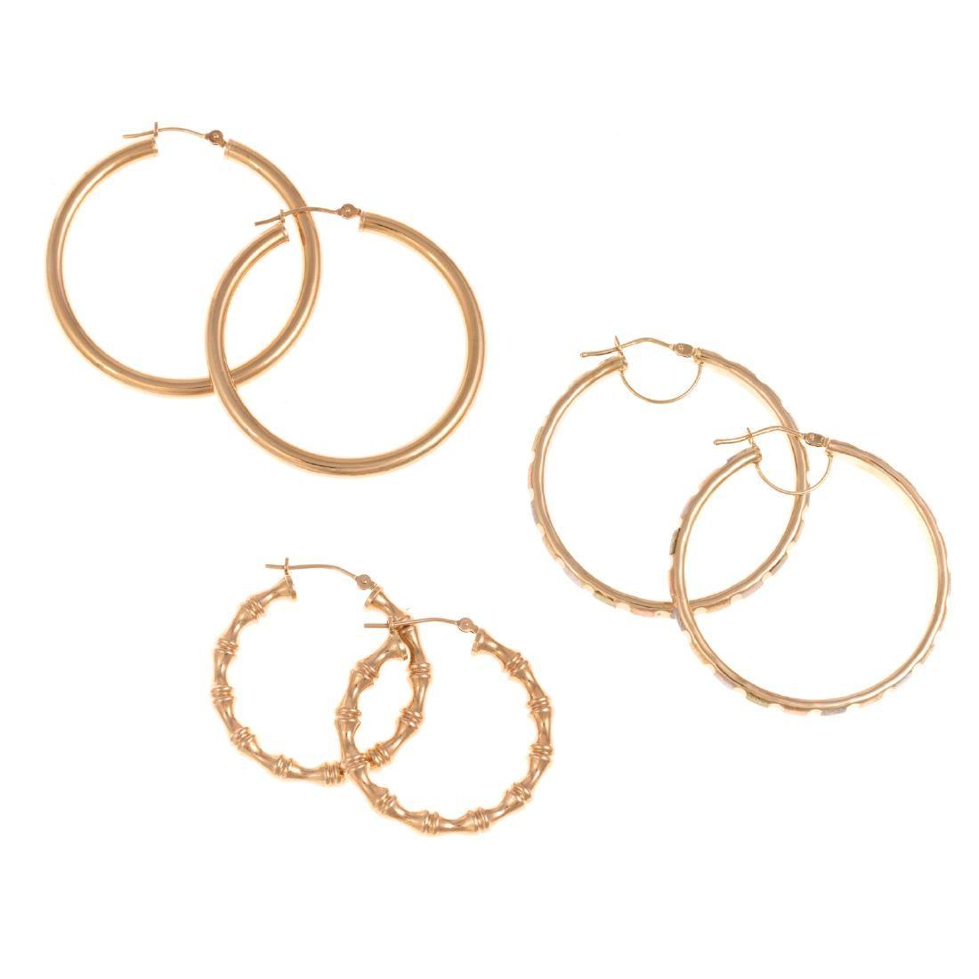 A Trio of Ladies 14K Gold Hoop Earrings
