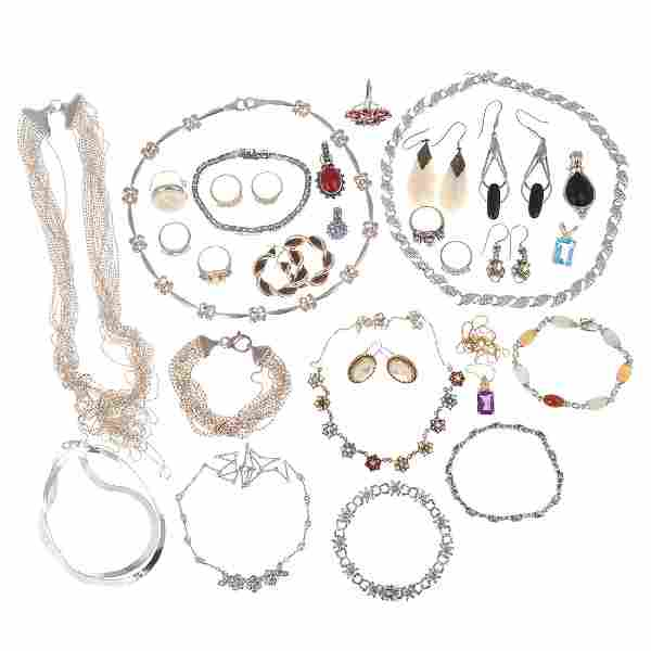 A Collection of Ladies Sterling Jewelry