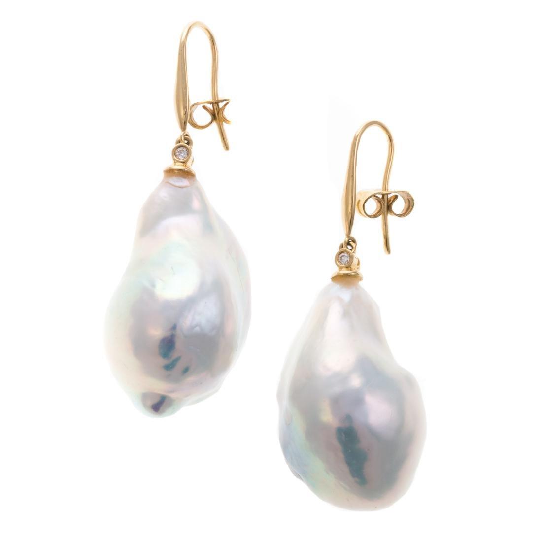 A Pair of Ladies Baroque Pearl Drop Earrings