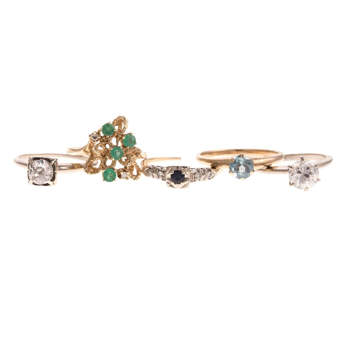 Five Ladies Diamond & Gemstone Rings in 14K