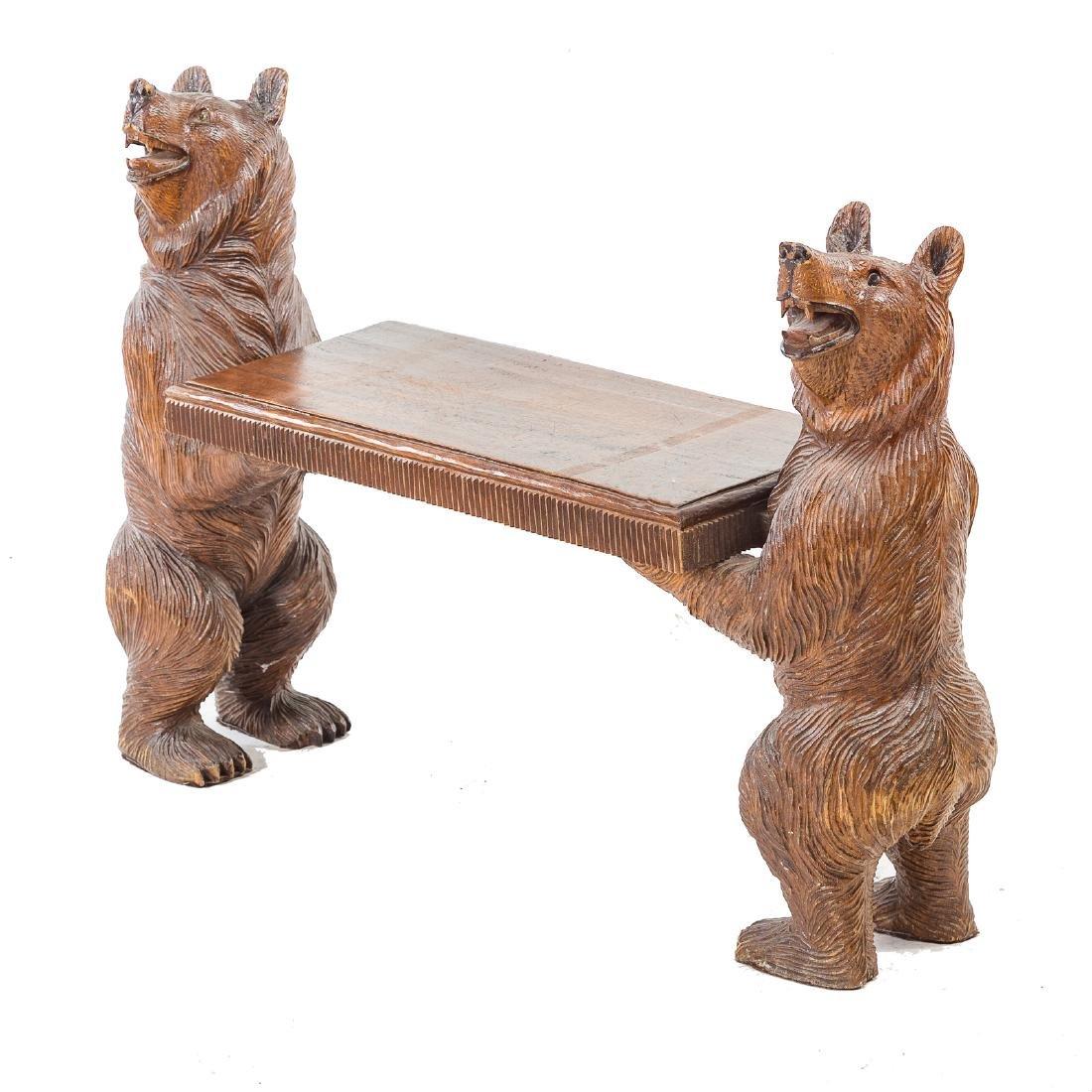 Black Forest carved wood bench