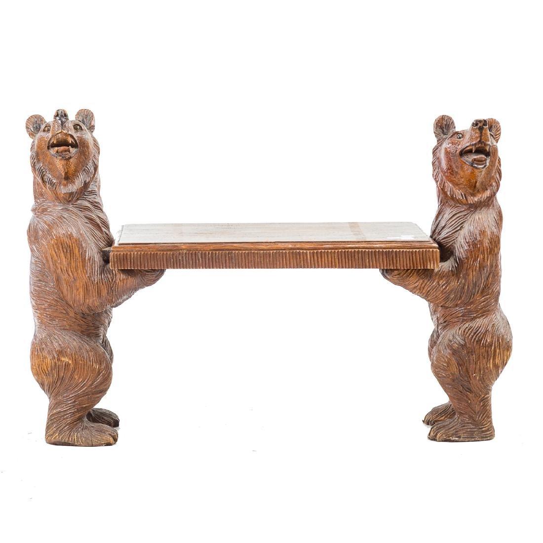 Black Forest carved wood bench - 2