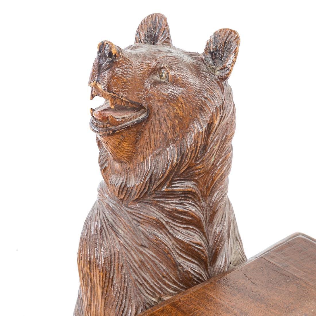 Black Forest carved wood bench - 3