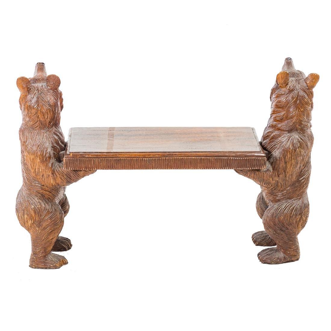 Black Forest carved wood bench - 4