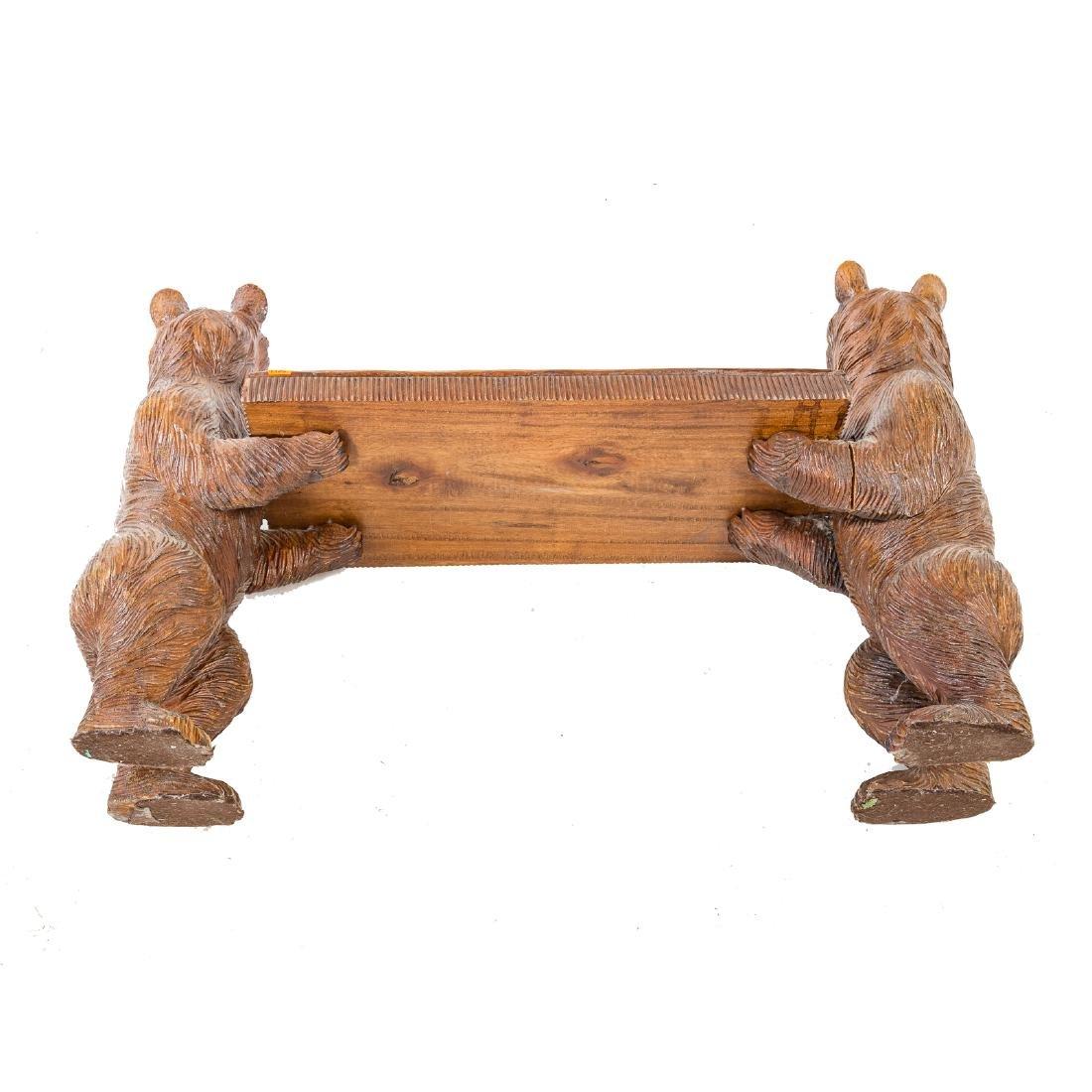 Black Forest carved wood bench - 5