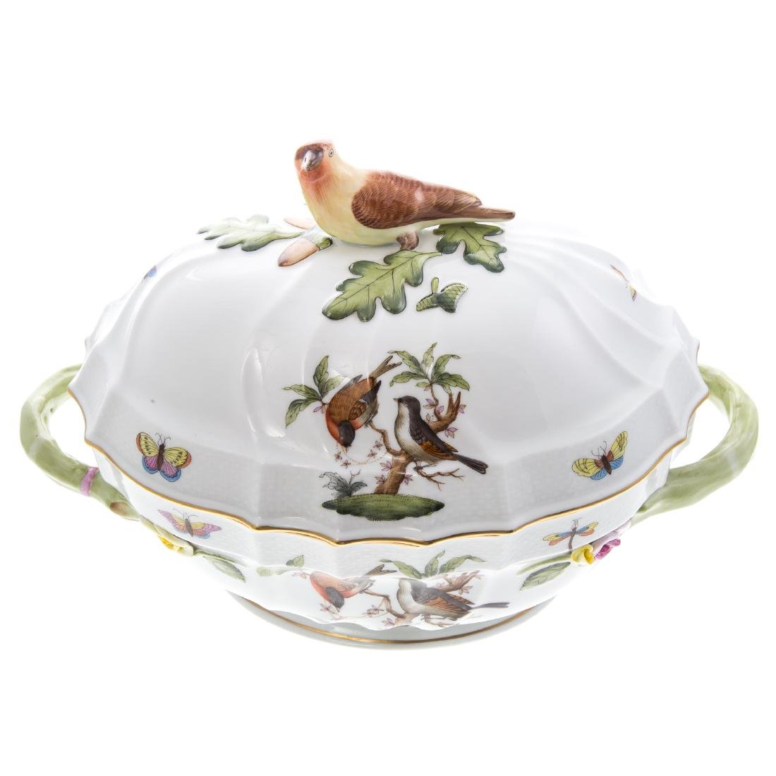Herend Rothschild Bird soup tureen and platter - 4